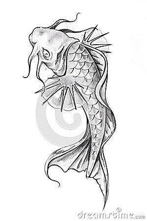 goldfish tattoo. SKETCH OF TATTOO ART, GOLDFISH