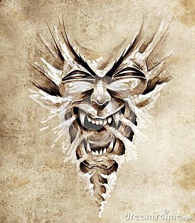 Sketch of tattoo art, monster agressive mask