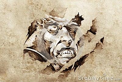 Sketch of tattoo art, vampire in the night