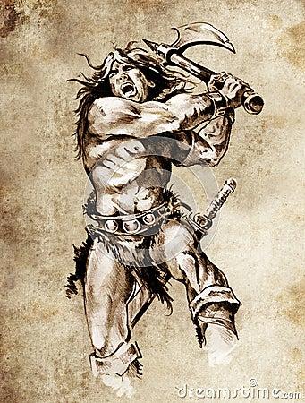 Sketch of tattoo art, warrior fighting