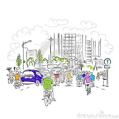 Sketch of traffic road in asian city with
