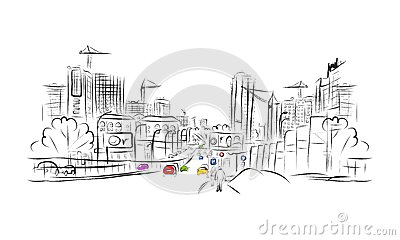 Sketch of traffic road in city for your design