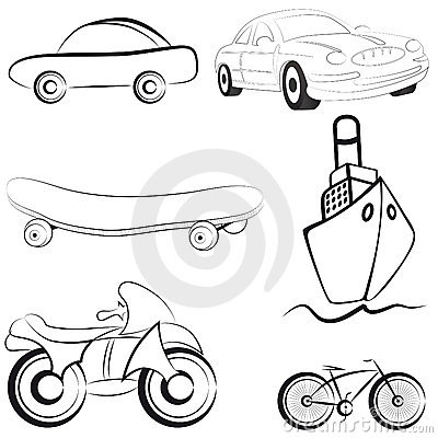 Sketch transport vector illustration