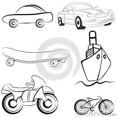 Sketch transport vector illustration