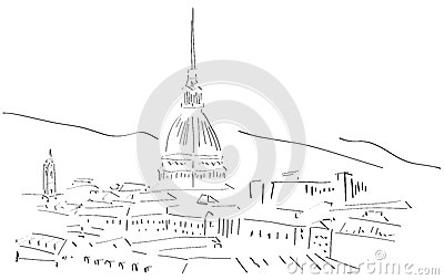 Stock Illustration Sketch Turin Skyline Illustration Representing City Italy Stylized Version Idea Can Be Used Travels Image41746603 on alfa romeo giulietta sprint