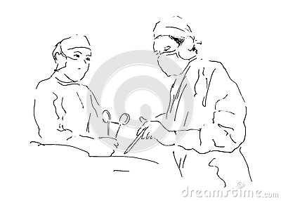 Sketch two doctors operating