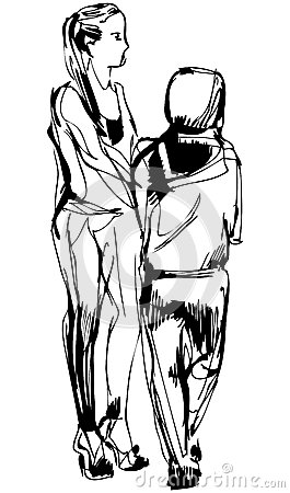 sketch two girls in pantaloons cost communicate