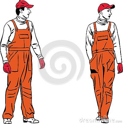 Sketch two workers in orange combinations