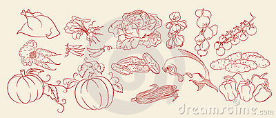 Sketch of vegetables, chicken & fish