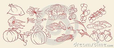Sketch of vegetables, chicken & fish