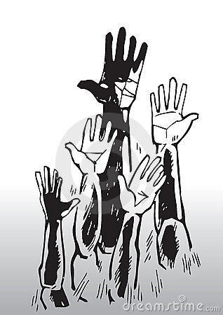 Umbrella Clipart Black And White Sketch Of Waving Hands...