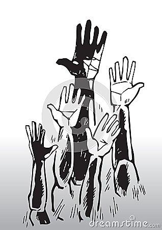 Sketch of waving hands