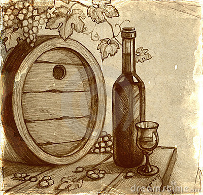Sketch of wine bottle