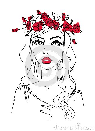 Sketch of a woman with flowers in her hair
