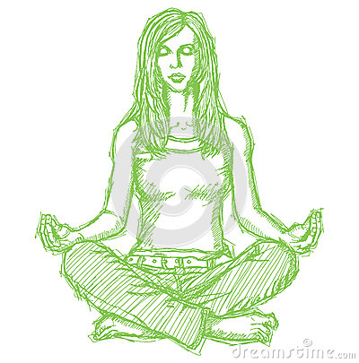 Sketch woman meditation in lotus pose