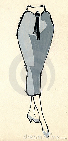 Sketch of a woman skirt