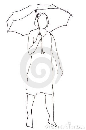 Sketch: woman with umbrella