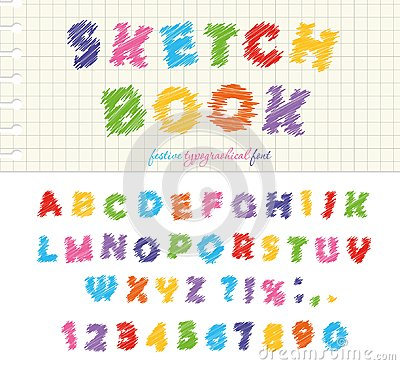 Free Sketchbook Colorful Font Design. ABC Scribble Scratchy Letters And Numbers Isolated  Royalty Free Stock Image - 99697856