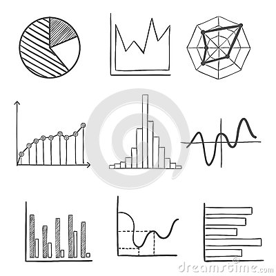 Sketched Business Graphs And Charts Stock Vector - Image: 63759199