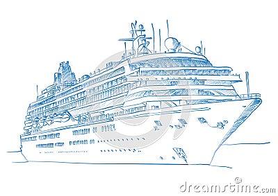 sketched cruiseship stock image image 6473091