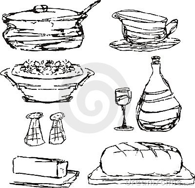 Sketched dinner dining food cooking pot casserole