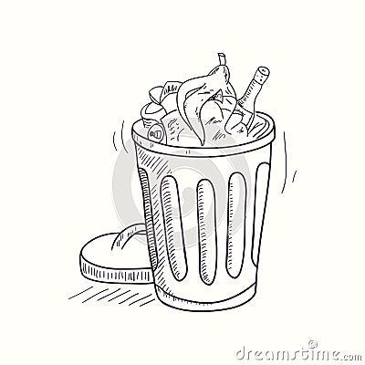 Free Sketched Full Trash Bin Desktop Icon Royalty Free Stock Photo - 51798645