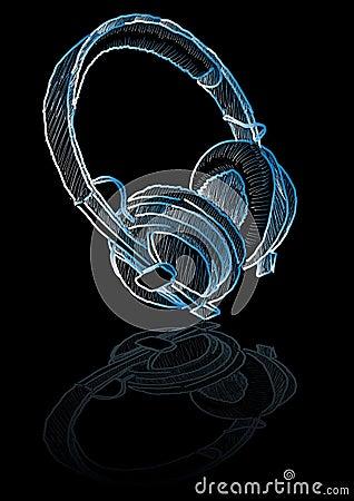Sketched headphones