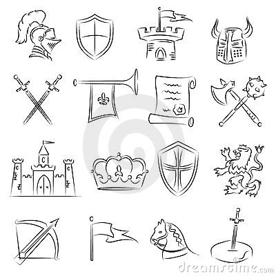 Free Sketched Medieval Icons Set Stock Images - 21949454