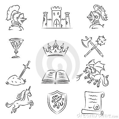 Free Sketched Medieval Icons Set Stock Photo - 21949460