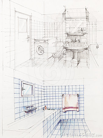 Sketched perspective of apartment bathroom