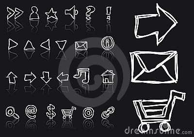Sketched web icons