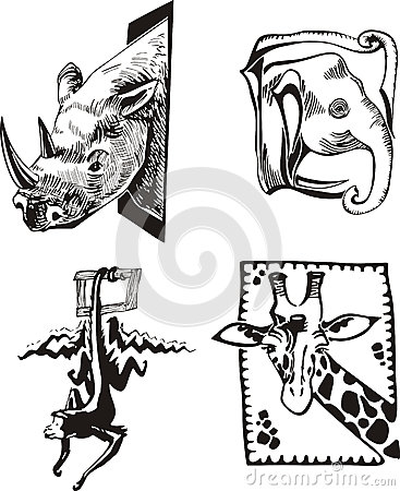 Sketches of African wild animals