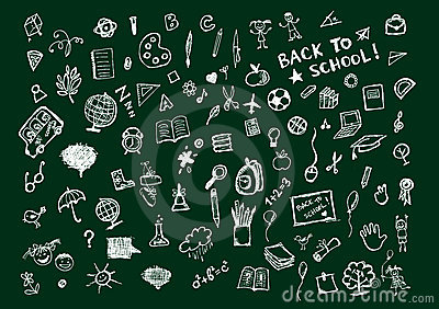 Sketches on blackboard, concept of school