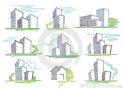 Sketches of buildings