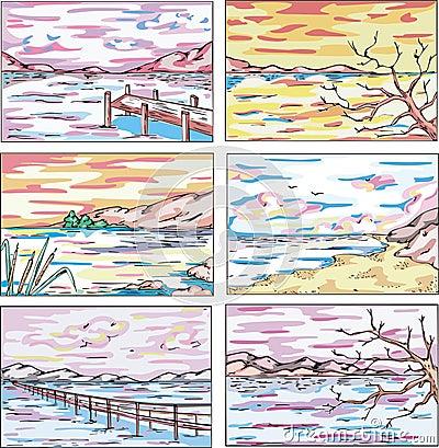 Sketches of coastal landscapes