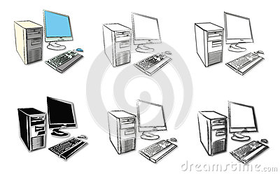 Sketches of desktop computers