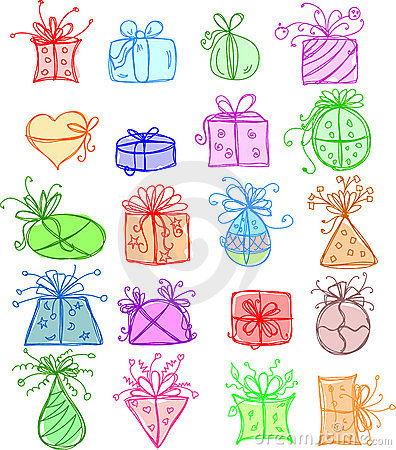Sketches gift packages,vector