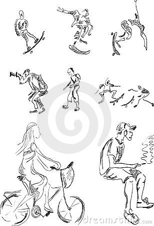 Sketches of group of active people