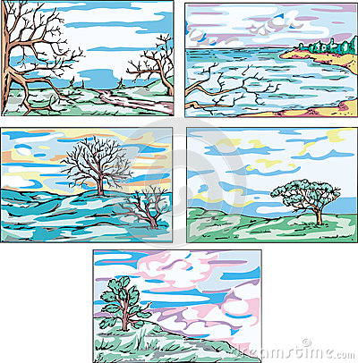 Sketches of landscapes with trees
