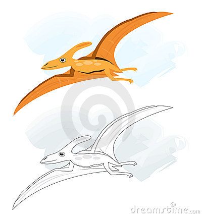 Sketches with pterodactyl dinosaur