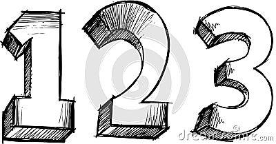 Sketchy 123 Numbers Vector