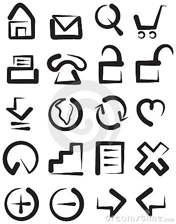 Sketchy childish web icons