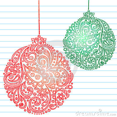 Sketchy Christmas Ornaments Notebook Doodles