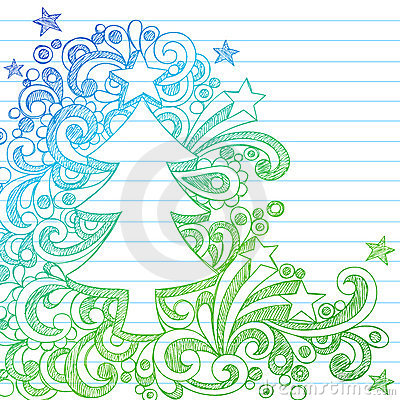 Sketchy Christmas Tree Abstract Notebook Doodles