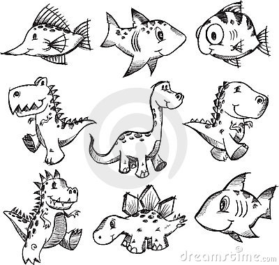 Sketchy Doodle Animal Set Stock Photography Image 10715812