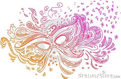 Sketchy doodle Carnival mask