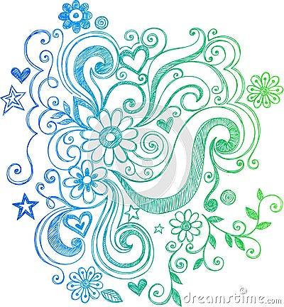 Sketchy Doodle Flower and Swirls Illustration