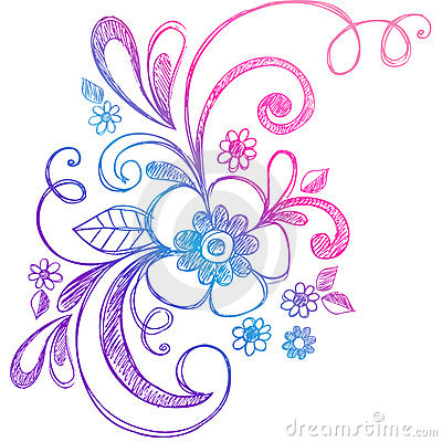 Sketchy Doodle Flower and Swirls Vector