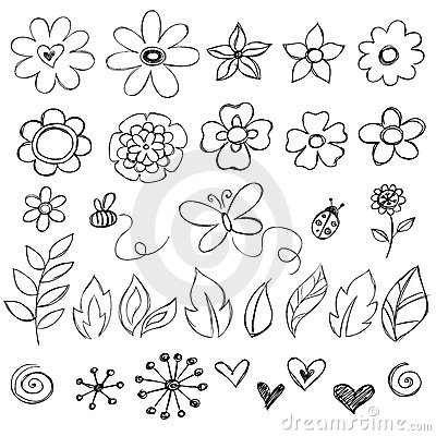 Free Sketchy Doodle Flowers Vector Royalty Free Stock Photos - 9964608