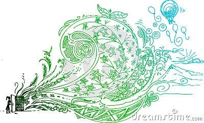 Sketchy doodle of open door vector
